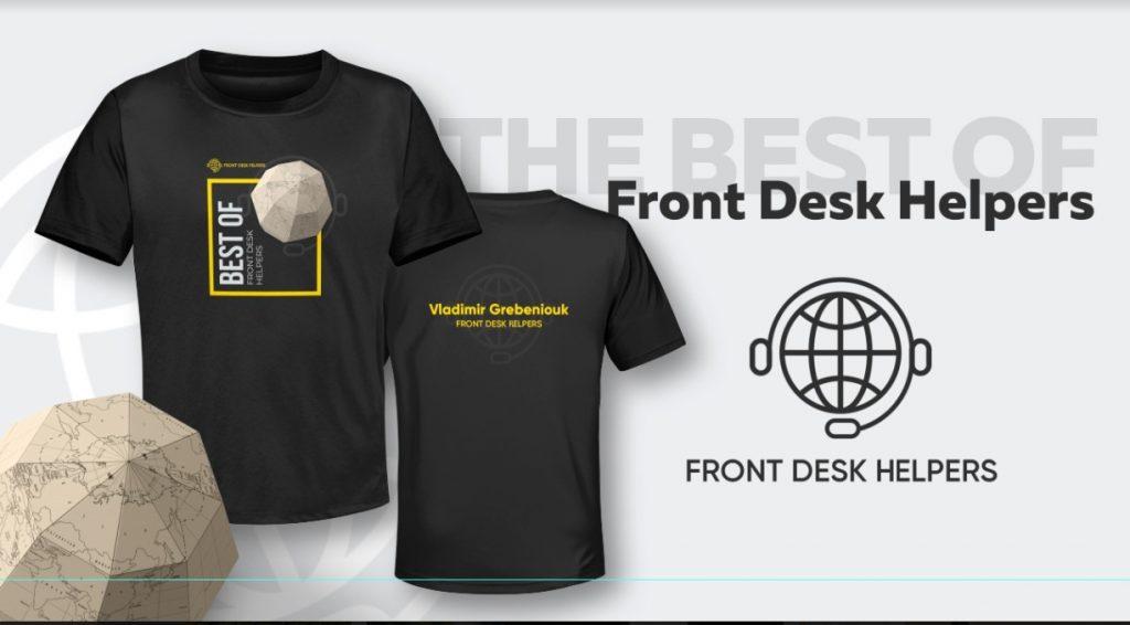 Front Desk Helpers branded shirt
